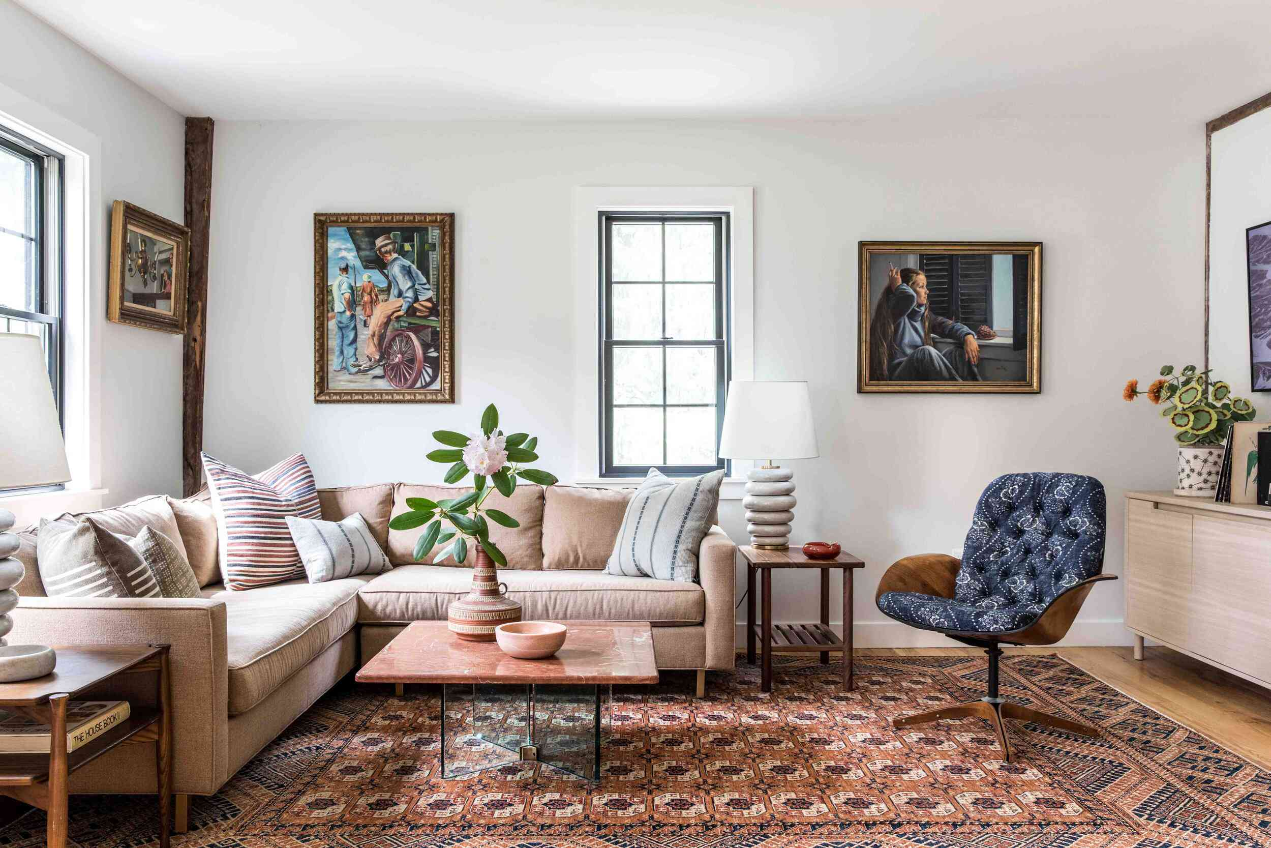 Eclectic living room with many patterns and colors