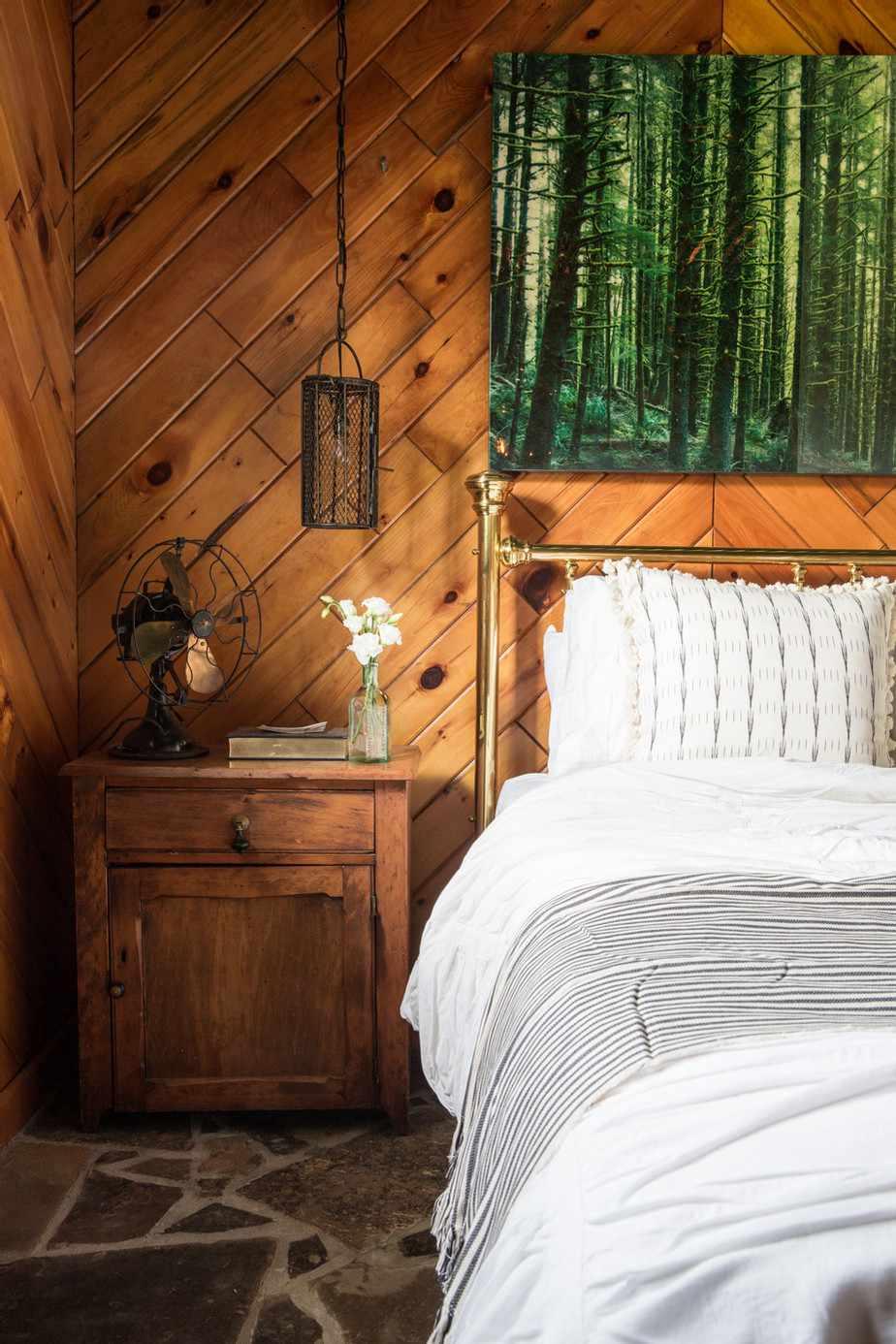 All wooden rustic bedroom