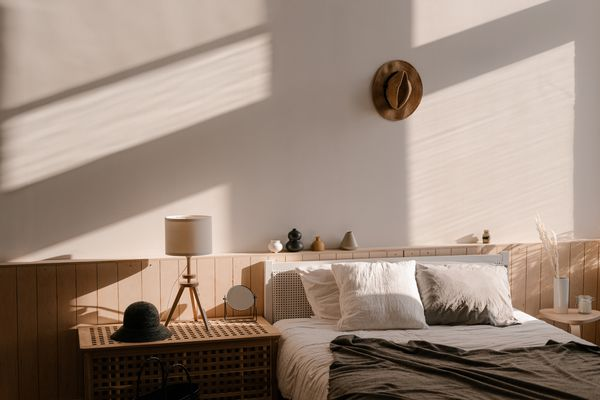 Interior Of Light Bedroom In Modern Apartment