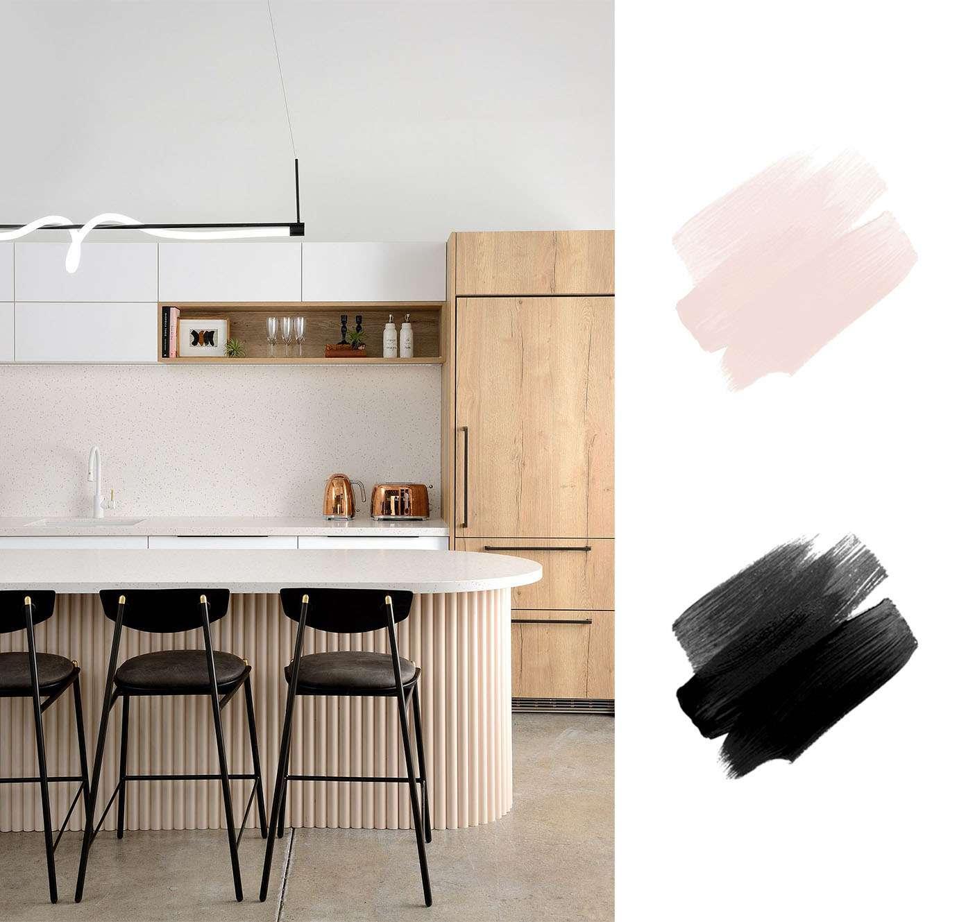 best interior color schemes - blush pink and black