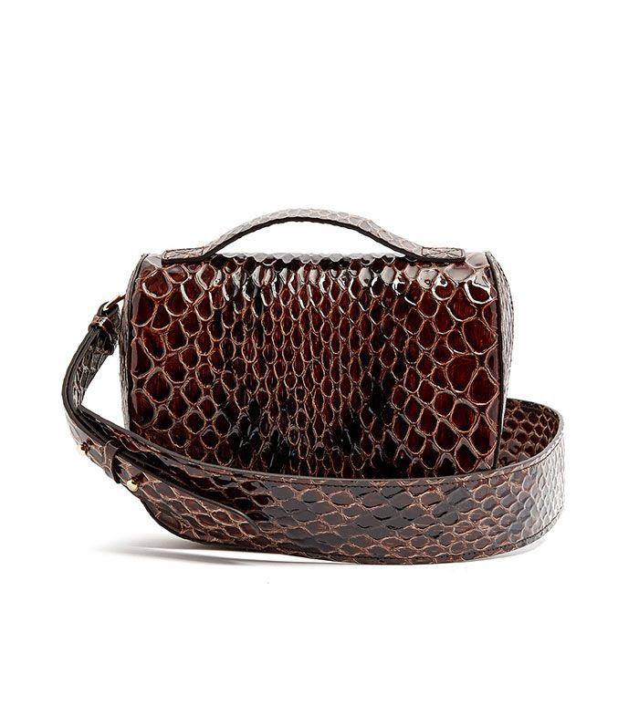 Snake-effect leather cross-body bag