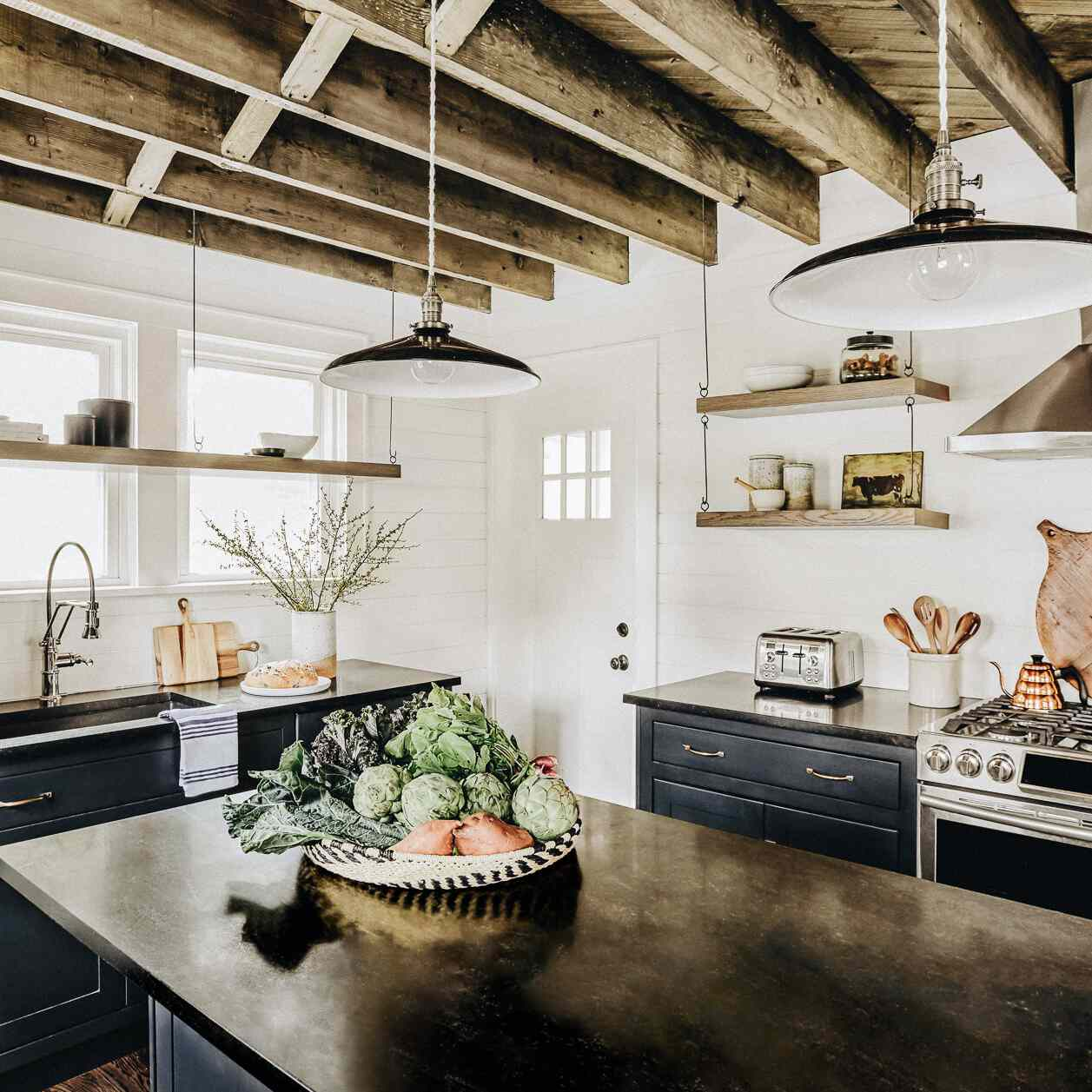 Rustic cottage kitchen with wood ceiling