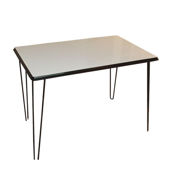 Vintage Black and White Enamel Art Deco Table