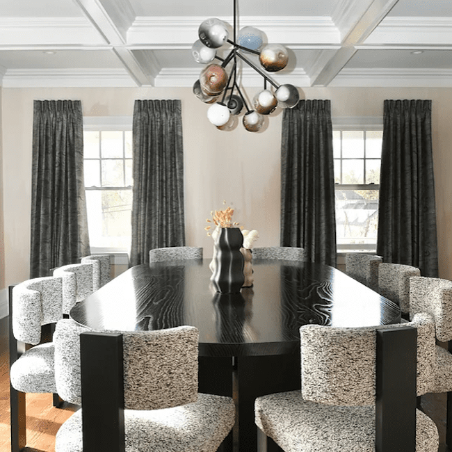 Dining room with heavy curtains