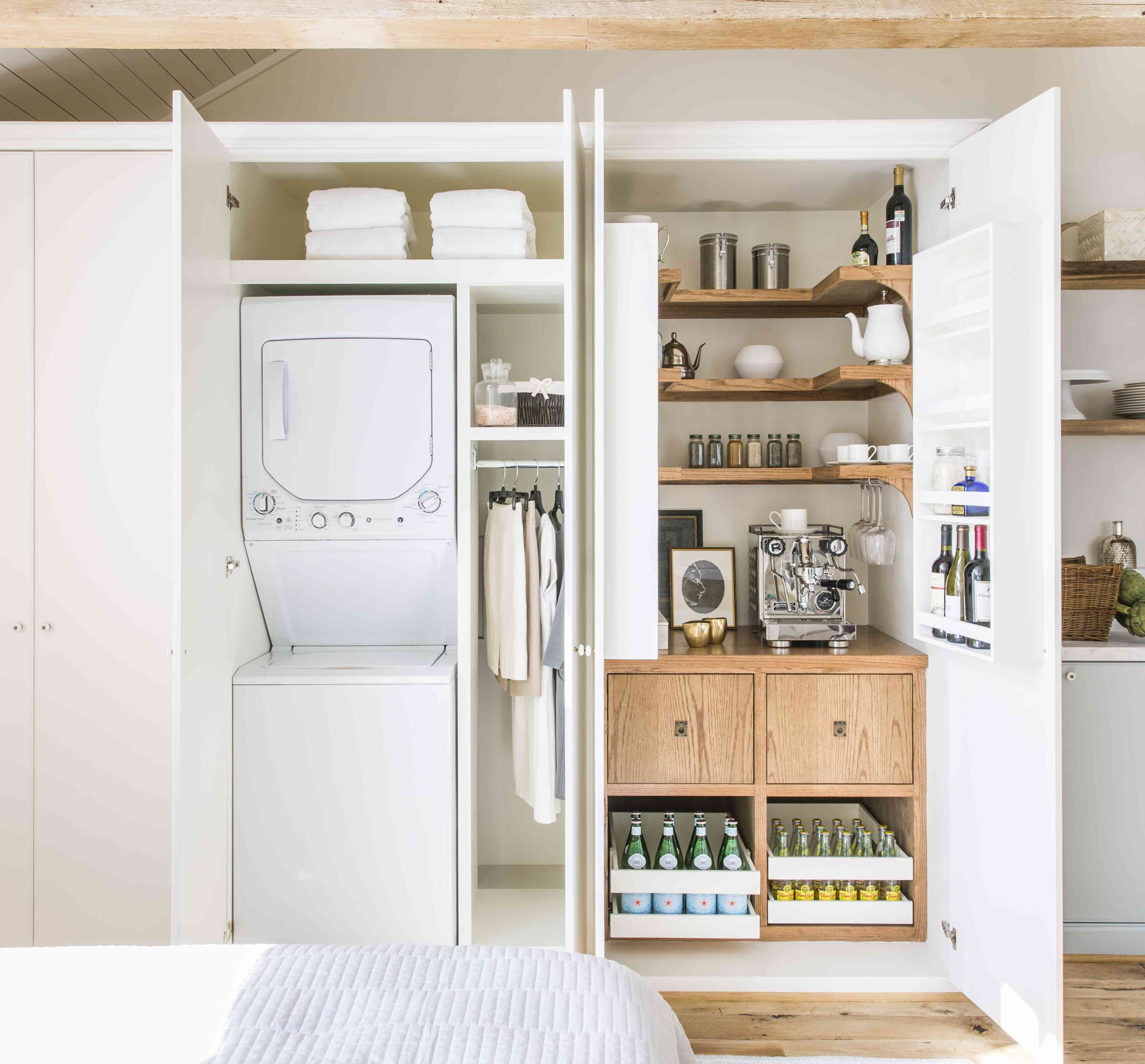 Hidden laundry and pantry in closets