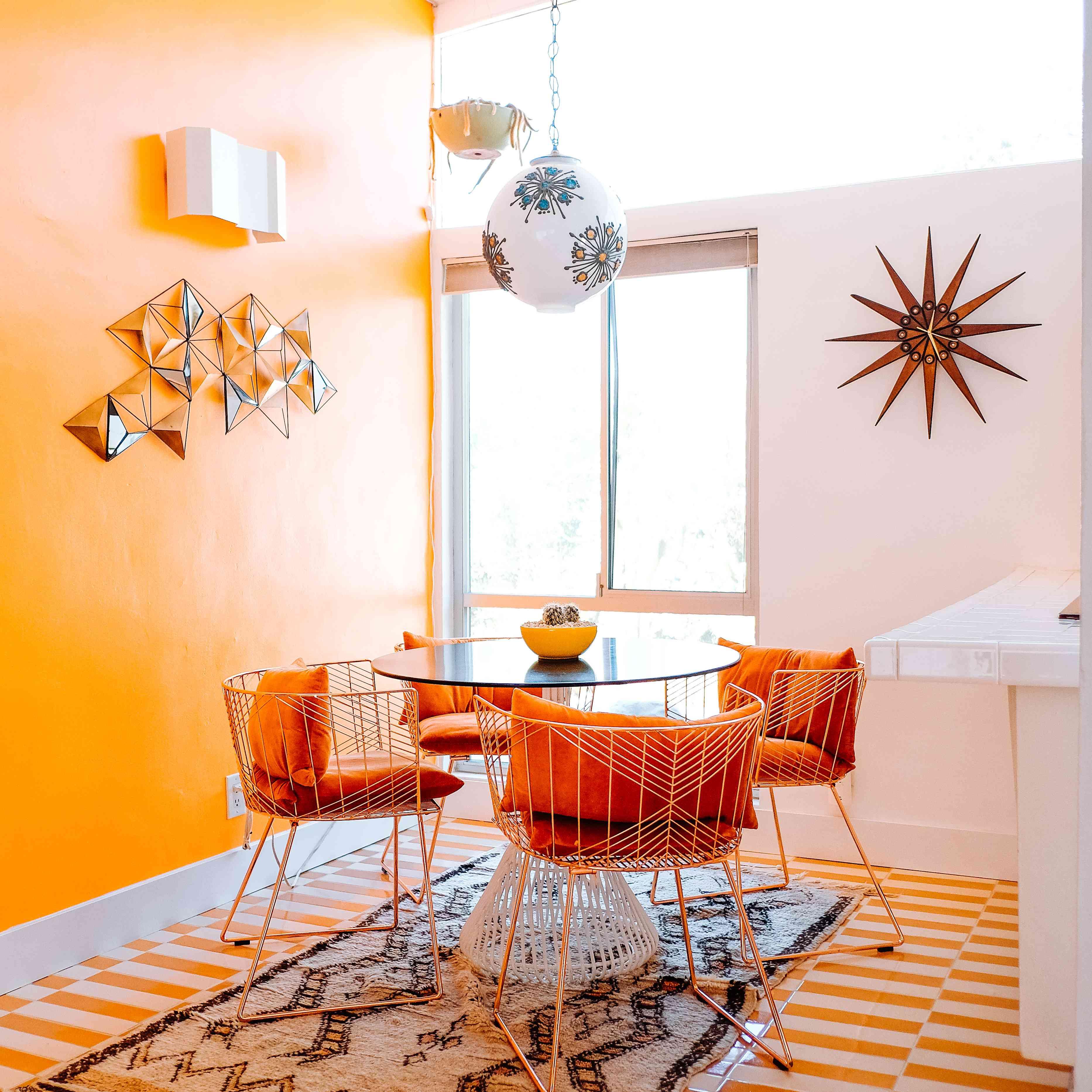 Orange dining area