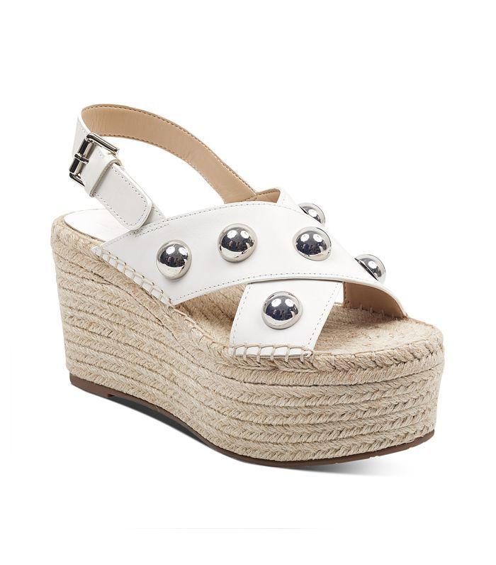 Women's Rella Leather Embellished Platform Wedge Espadrille Sandals