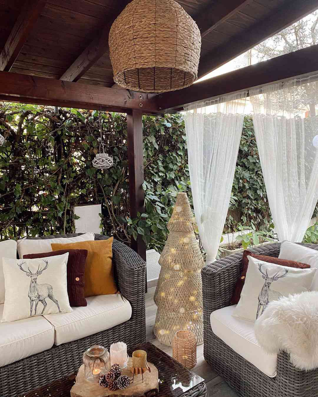 Patio with hanging curtains