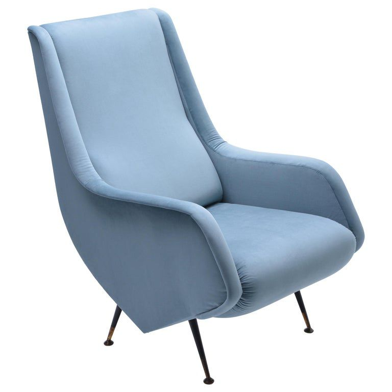 Reupholstered 1950s Blue Italian Armchair in the Style of Aldo Morbelli