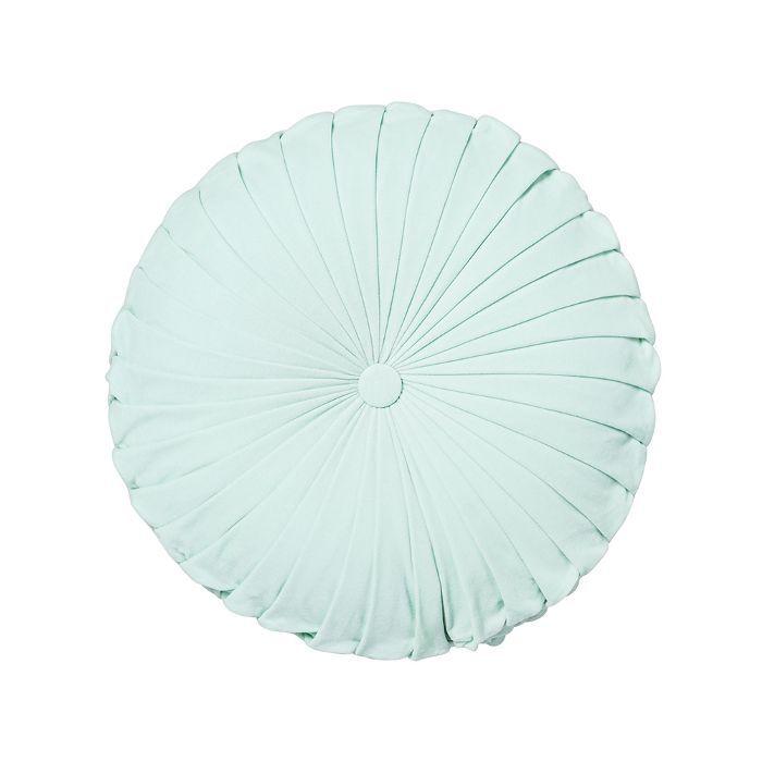 Target Aqua Pleated Velvet Round Throw Pillow