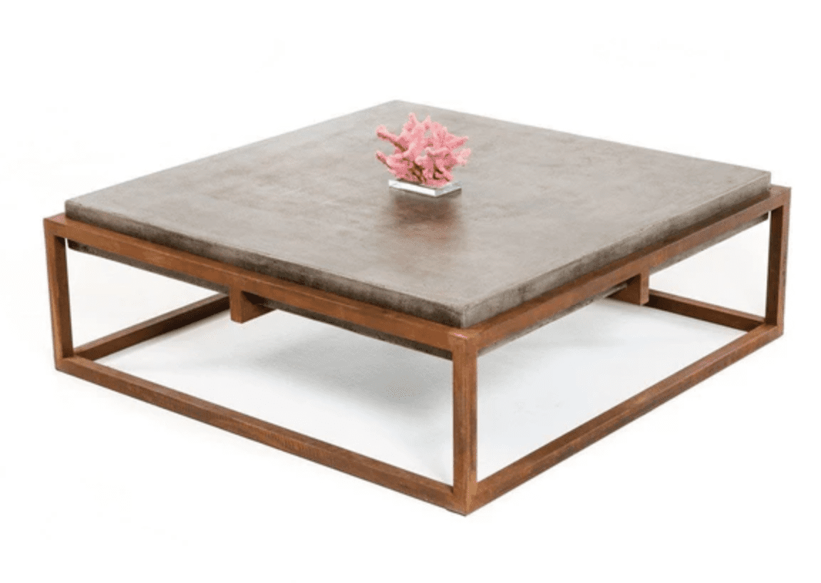Industrial modern square concrete and rust colored coffee table by Vig