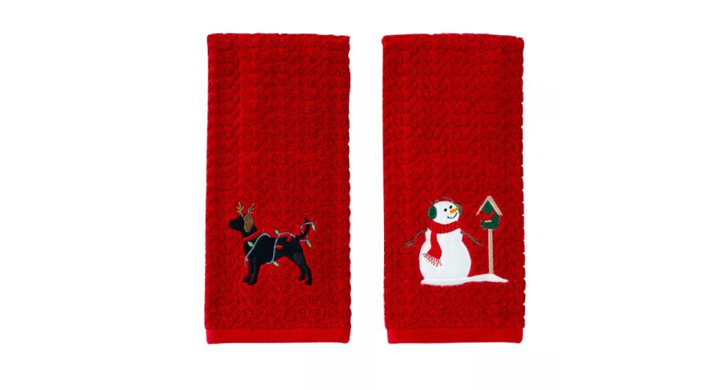 Reindeer Dog/Snowman Hand Towel Set Red