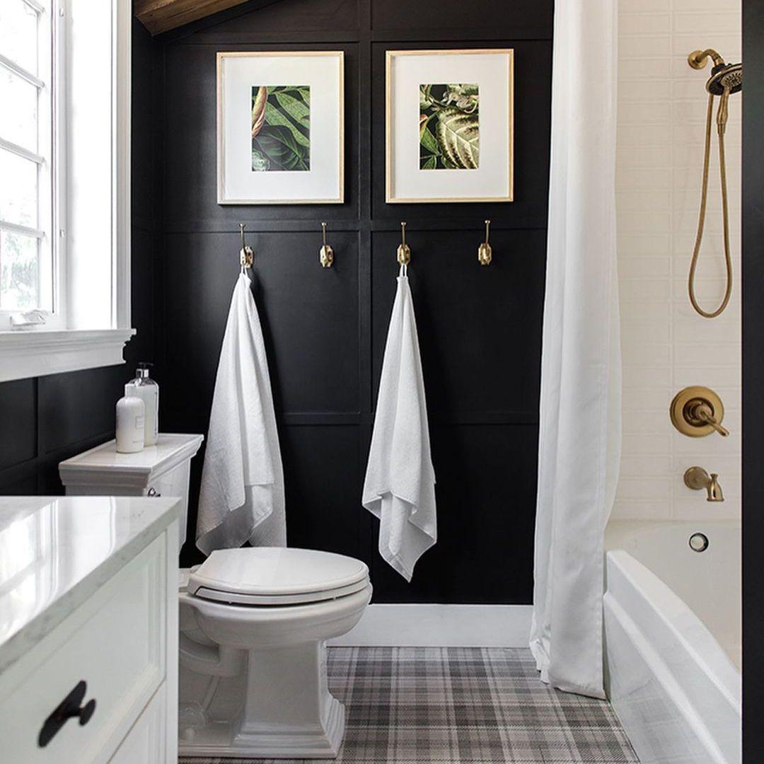 Bathroom with black wallpaper