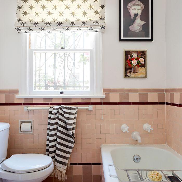 Baño Art Deco rosa