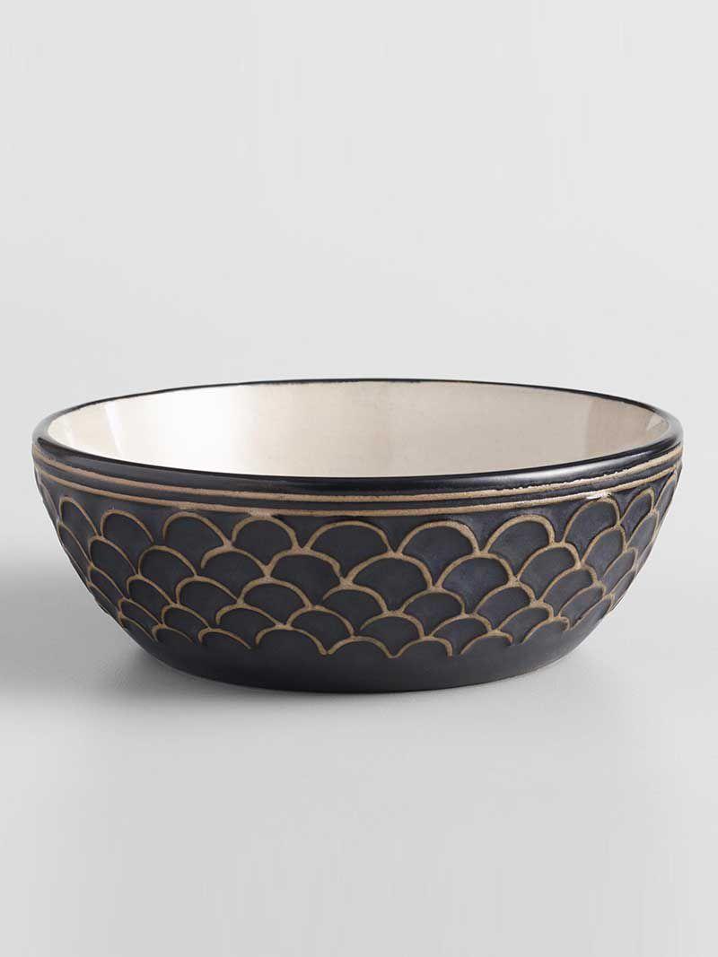 world market textured black and white chloe bowl