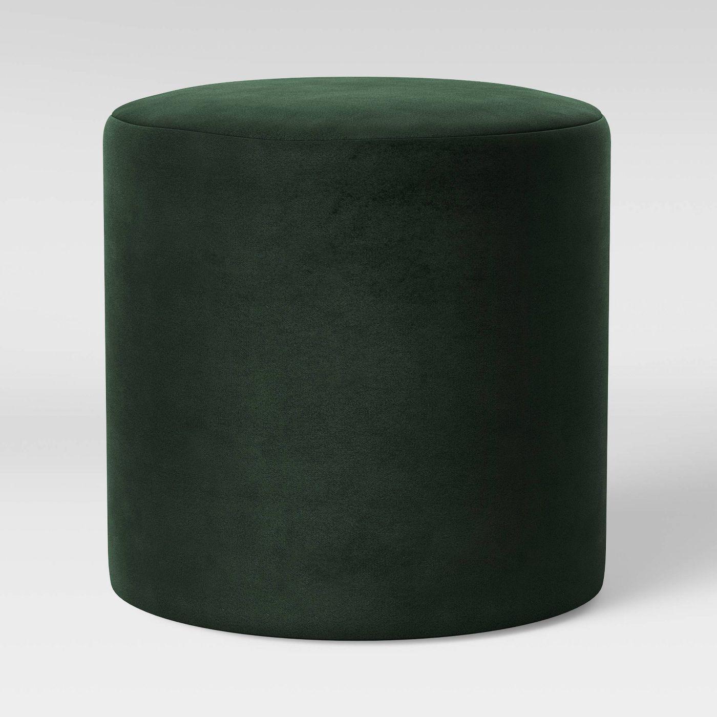 Bodrum Round Upholstered Velvet Ottoman