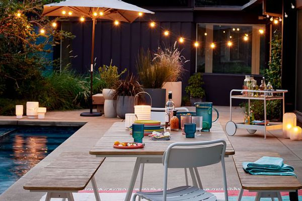 Backyard patio with string lights