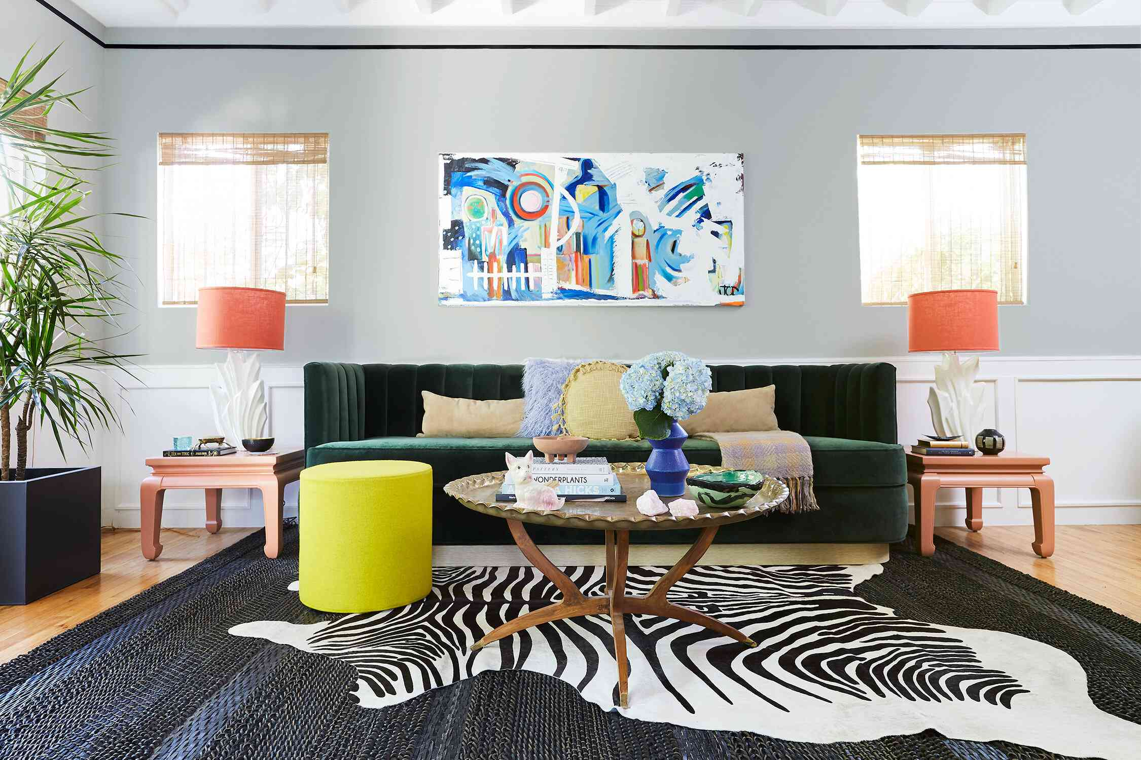 maximalist living room with a zebra rug