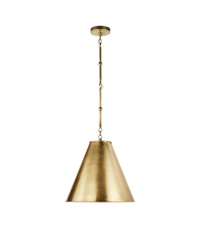 Thomas OBrien Goodman, lámpara de techo de latón antiguo, frotada a mano