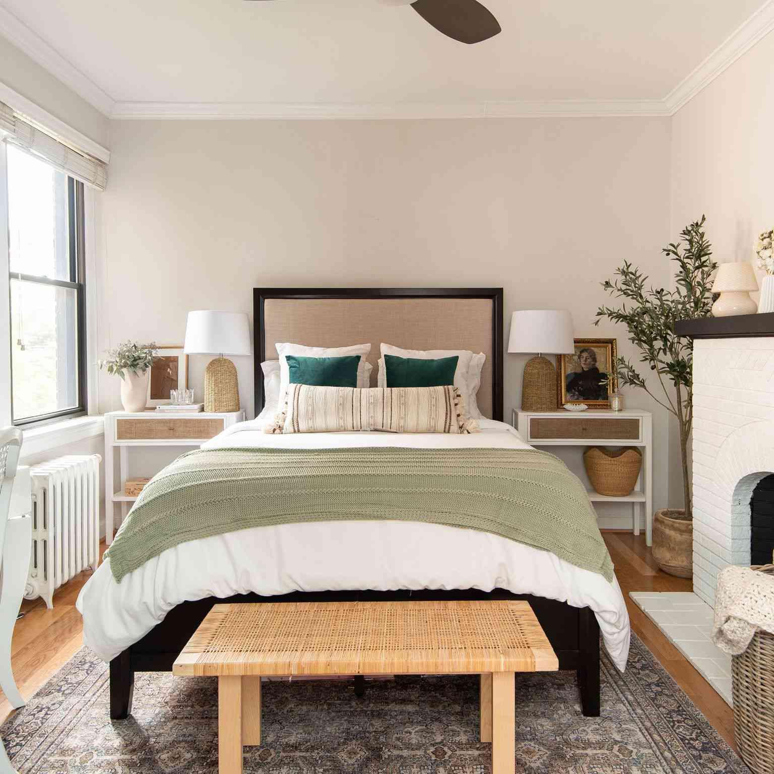 Bedroom with vintage rug.