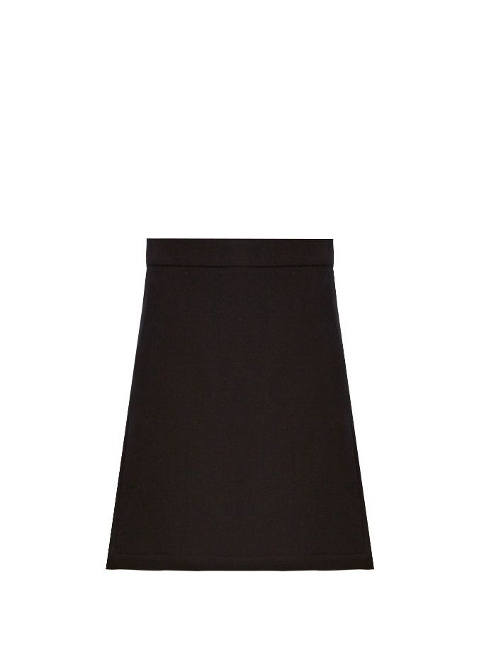 Raey Split-side wool-blend twill A-line skirt