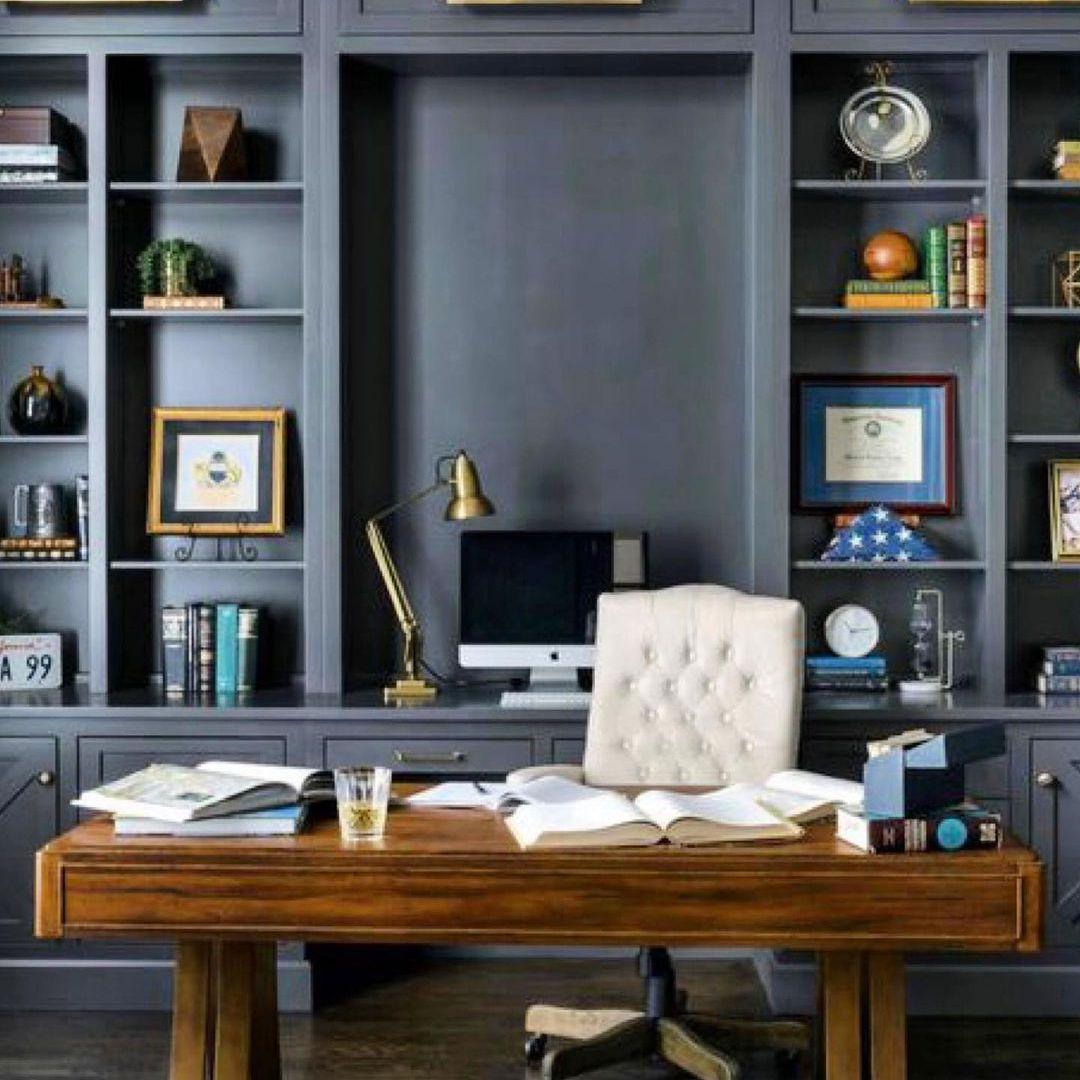 Desk with black built ins