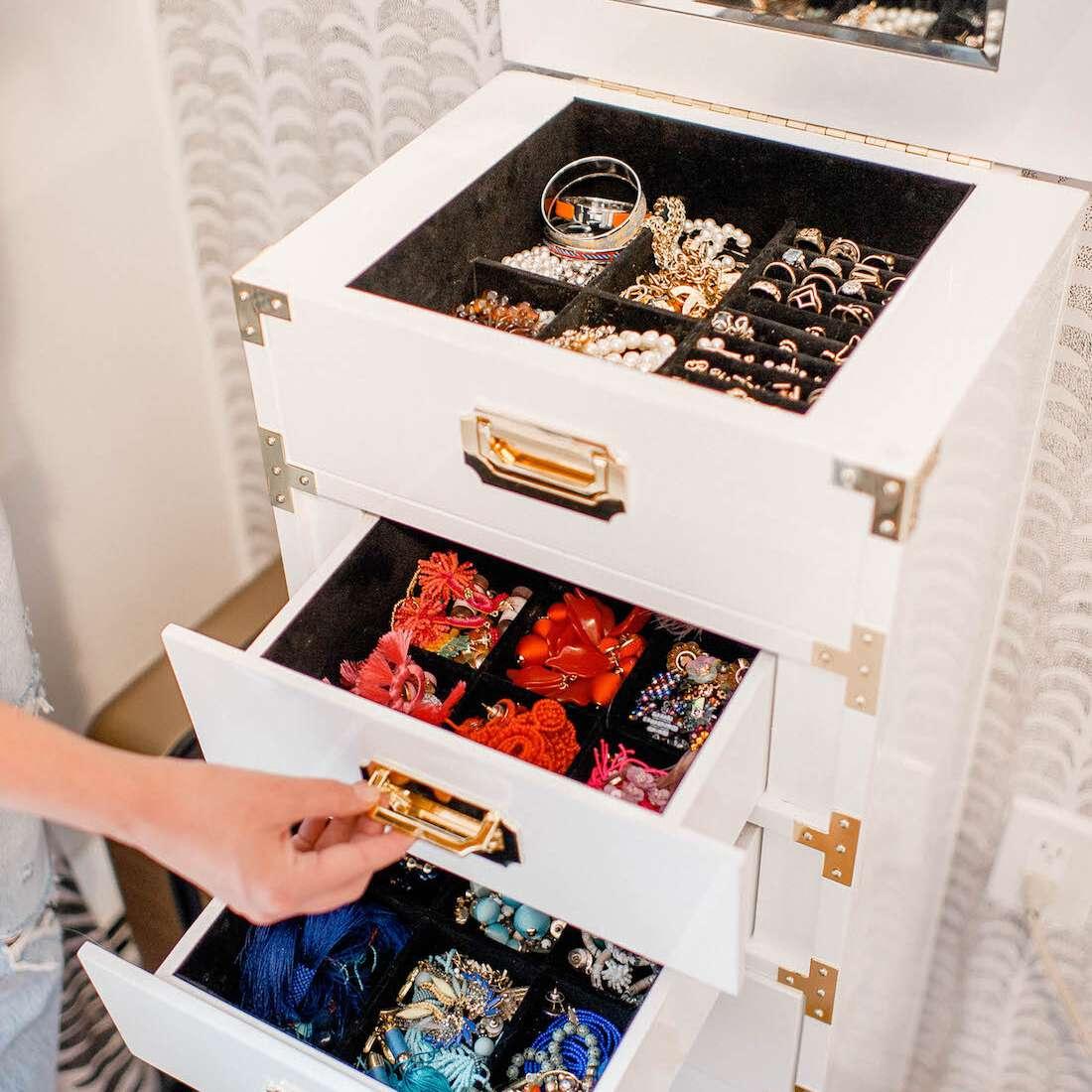 Large stacking jewelry organizer.