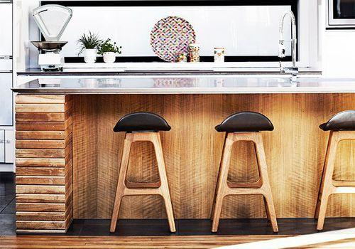 a wood finish kitchen