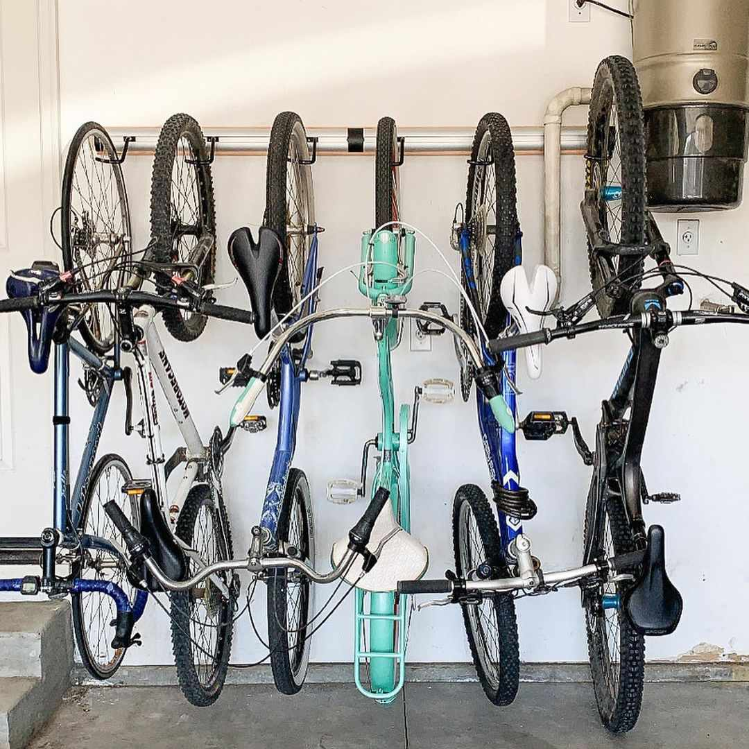Bikes on a rack in a garage