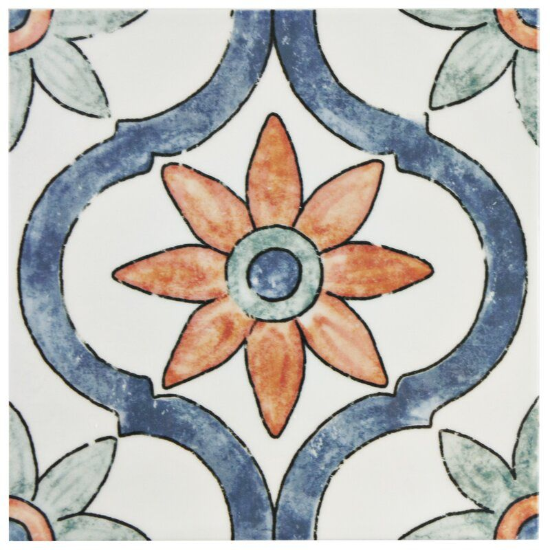A floral printed tile