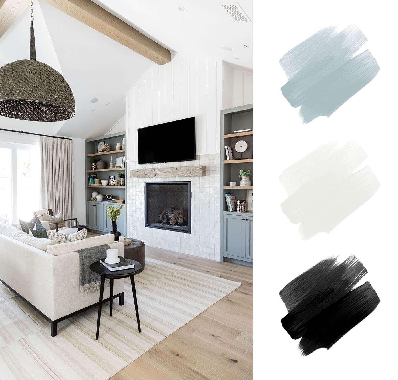 best interior color schemes - sage and black and white
