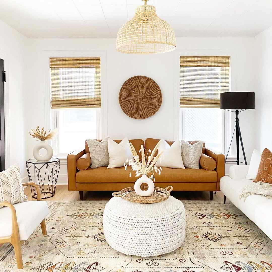 Living room with boho light fixture