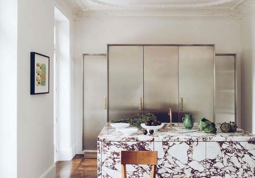 Calacatta viola marble kitchen island.