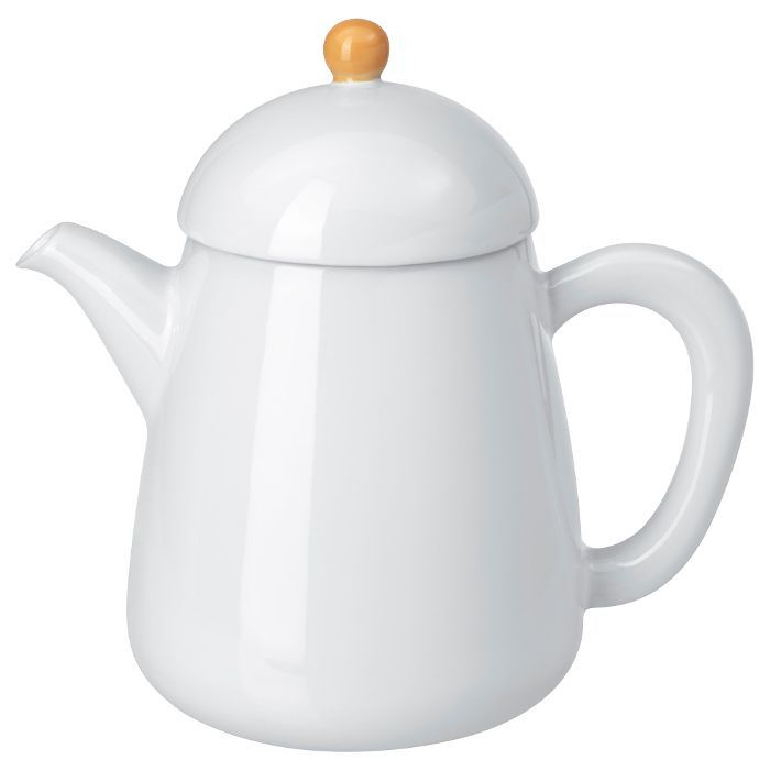 IKEA White and Yellow Teapot