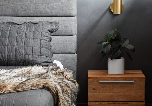 All gray luxe bedroom