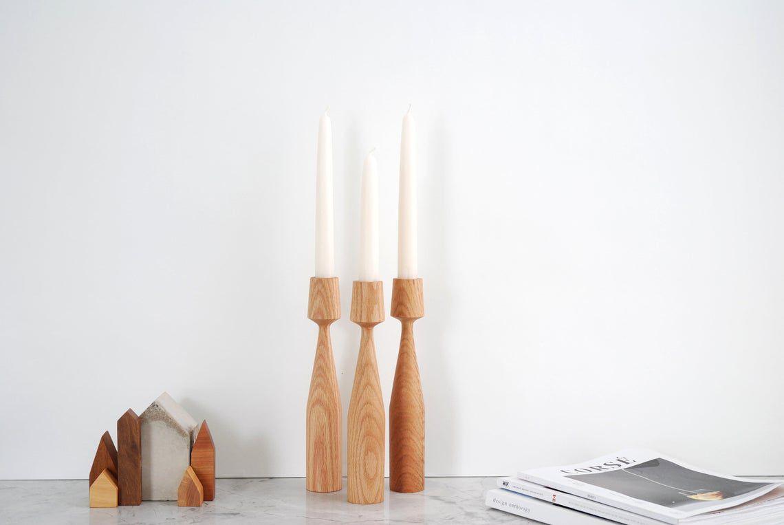 set of 3 Handturned Wood Candlestick