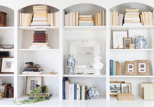 Beautifully styled bookshelf.
