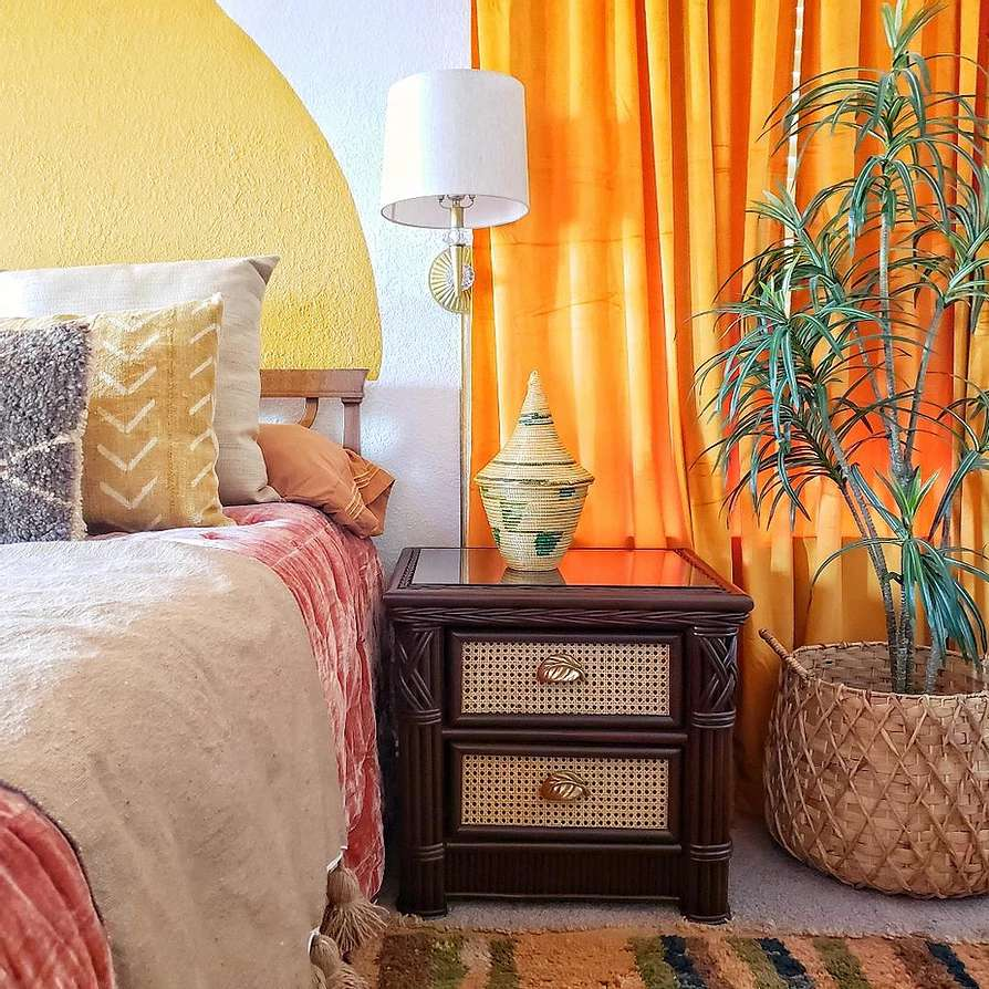 Bright and colorful jungle inspired bedroom.