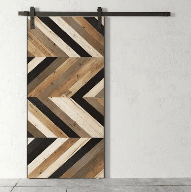 Urban Woodcraft Paneled Reclaimed Wood Finish Barn Door with Installation Hardware Kit