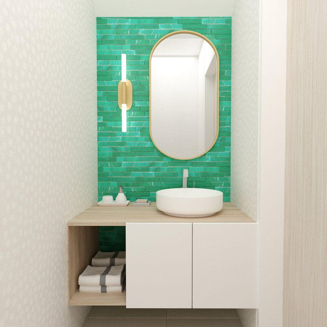Teal tile bathroom