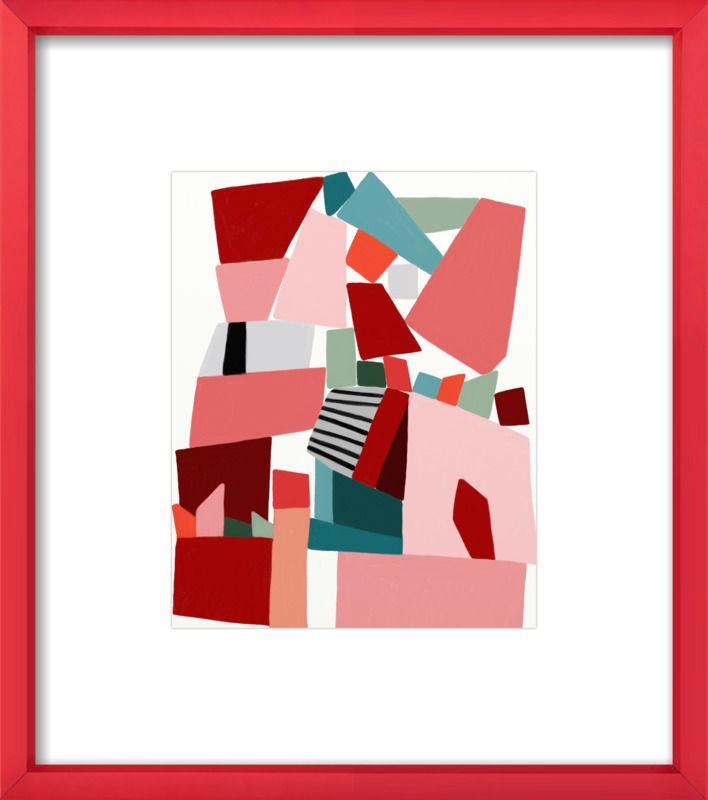 Una impresión abstracta enmarcada en un marco rosa por Artfully Walls.