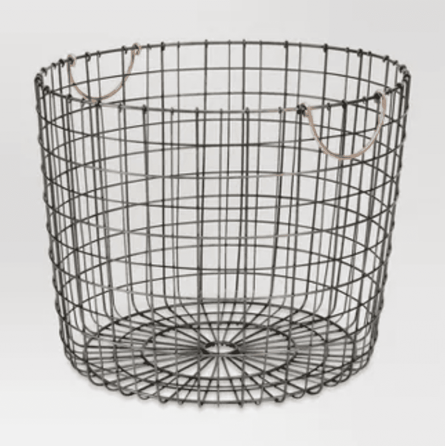 Extra large round wire decorative storage bin with copper handles