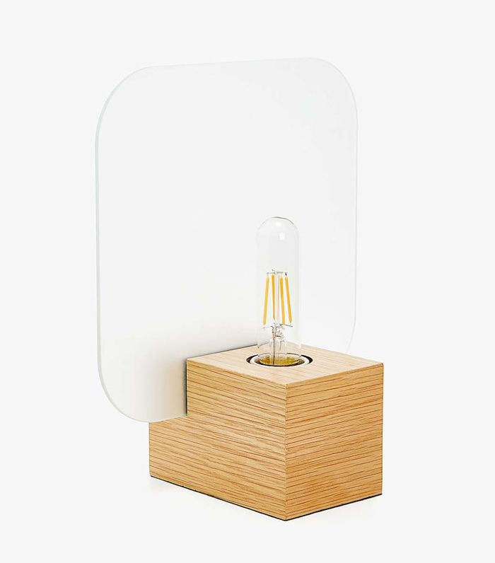 Zara Home Wooden Lamp With Exposed Bulb