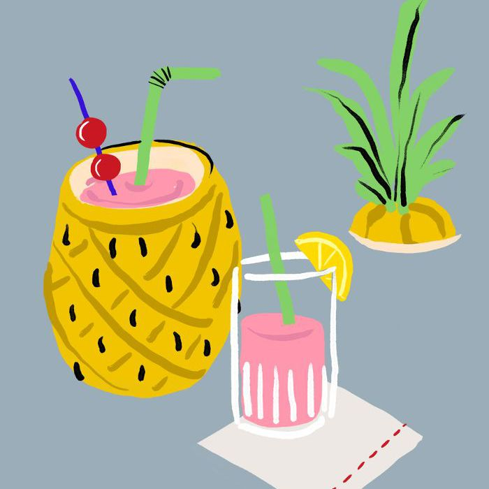 illustration of a pineapple with a tropical drink inside it
