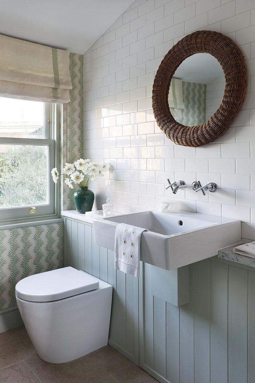 bathroom with rattan mirror