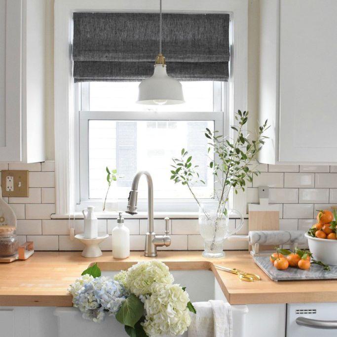 kitchen window roman shades