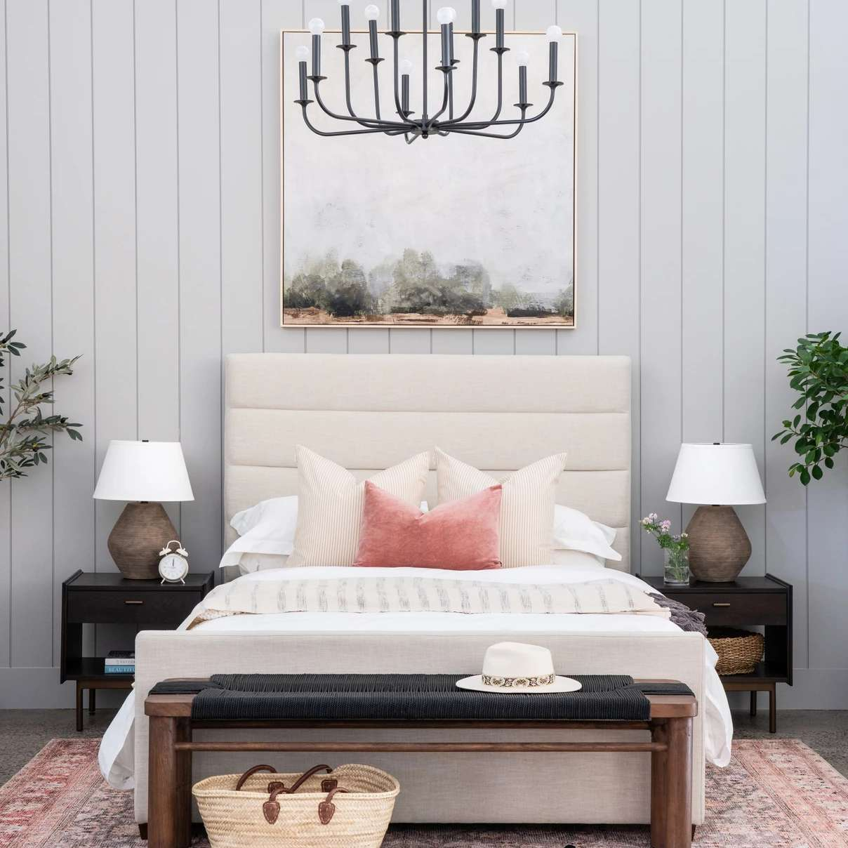 Sophisticated gray bedroom with blush accents