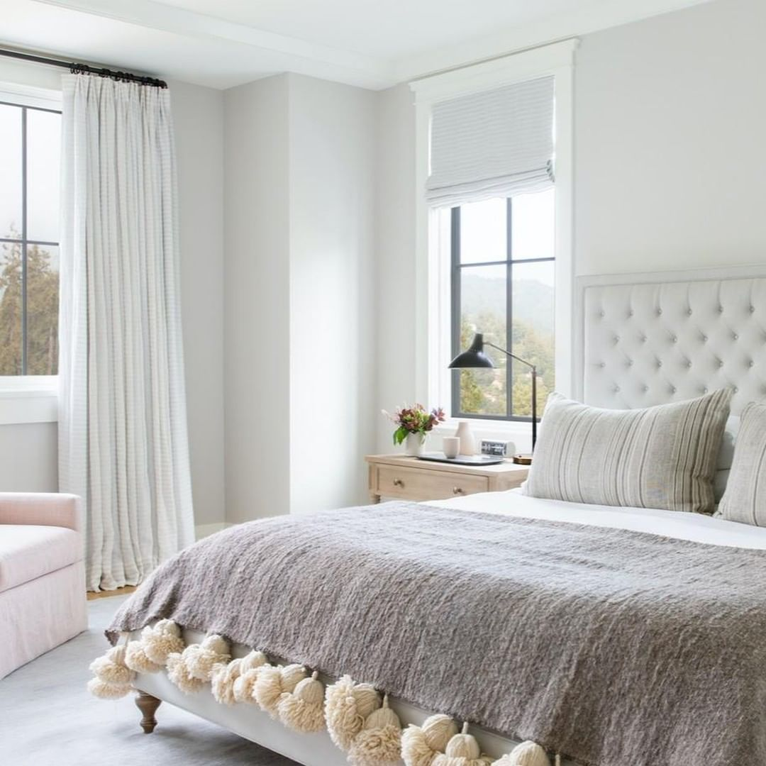 Bedroom with tassels on the throw