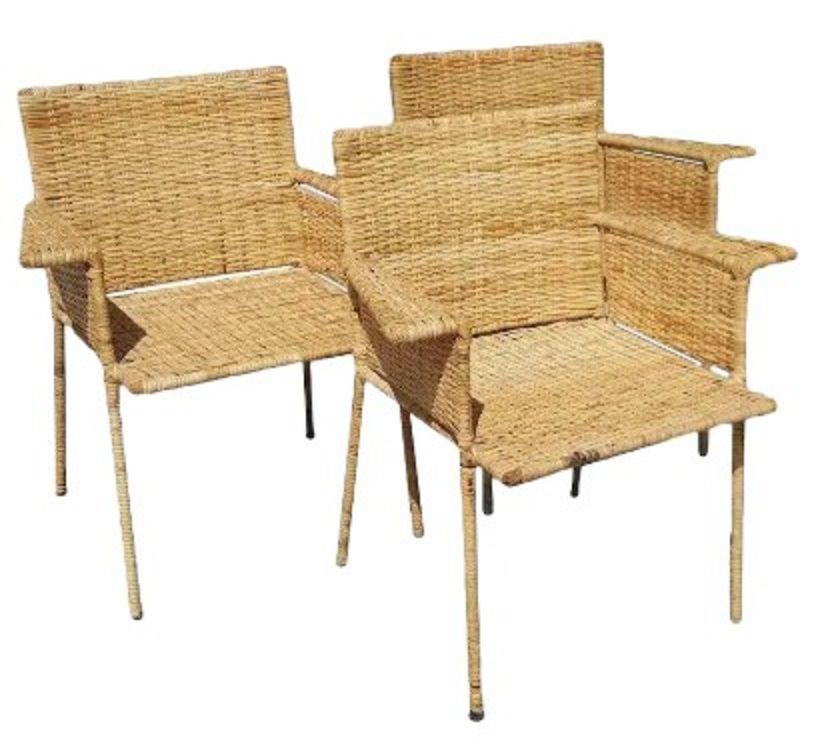 Van Keppel Green Wicker and Wrough Iron Chair Set