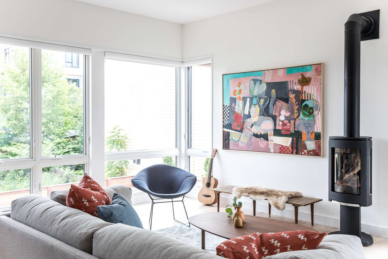 Mid-century styled family room with rounded furniture